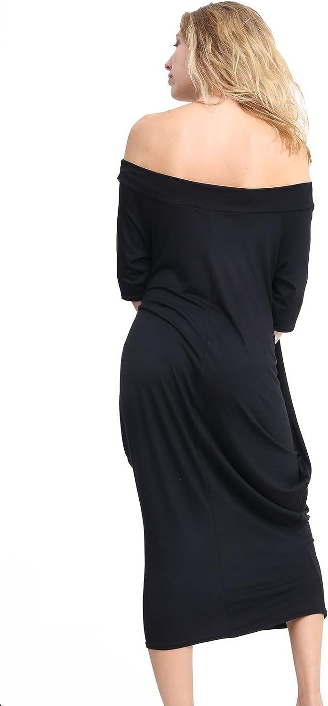 Womens Off Shoulder Printed Baggy Midi Dress Ladies Oversized 2Pocket Parachute