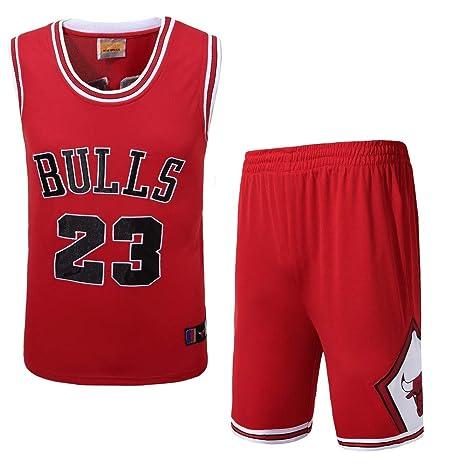 Basport Traje de Ropa de Baloncesto Masculino NBA Bulls Michael Jordan No. 23,B