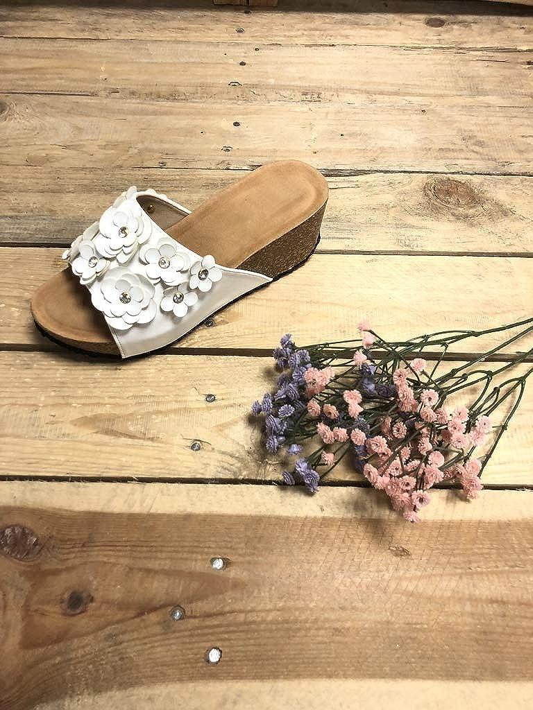 Angkorly Chaussure Mode Mule Sandale Confortable Pratique Femme Fleurs li/ège Talon compens/é 6.5 CM