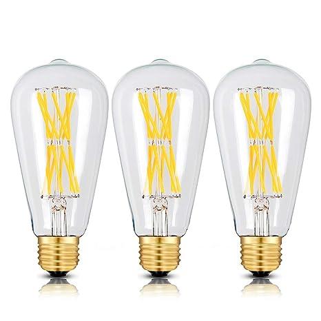 Edison Light Bulbs 100 Watts 15w Dimmable Led Bulbs 2700k Warm White 1300lm E26 Medium Base St21 St64 Edison Led Filament Bulbs 360 Degrees Beam