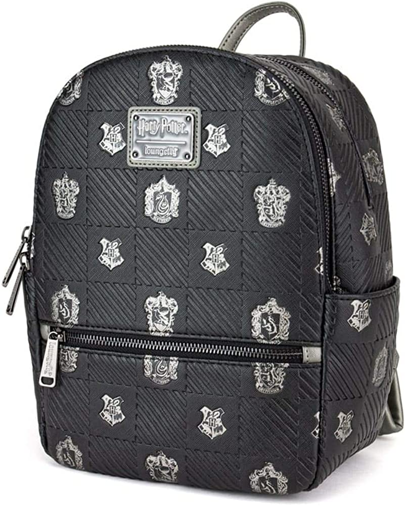 Loungefly x Harry Potter Hogwarts Houses Crests Mini Backpack, Black, One Size