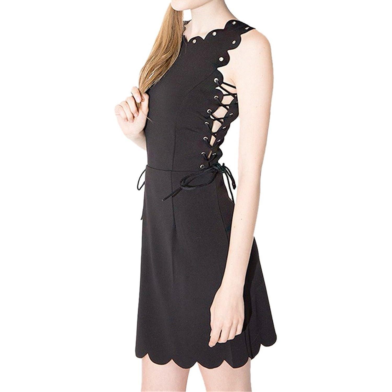 Weinlese-Frauen schwarze AErmellose Fanny Wellenschliff Sommerkleid A-Line-dUEnnes Kleid XS-XXL