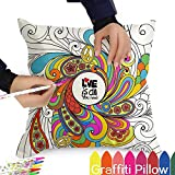 Pillowcase size: 18x18''  Pillowcase material: 100% polyester fibers  The DIY color pillowcase is a  perfect gift for kids who love colors!  It can builds the kids' abilities such as concentration, confidence, handwriting, hand-eye coordinat...