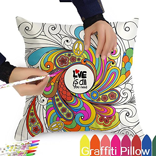 Tween Girl Creative Gifts - Color It Yourself  Pillowcase With A Set of 12 Doodle Color Pens