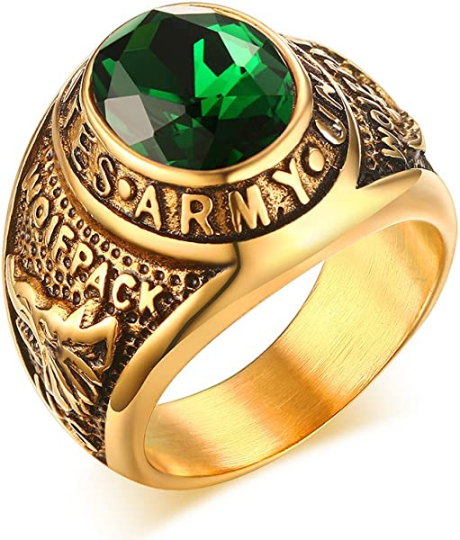 VNOX Stainless Steel Green Rhinestone US Army Ring for Men,Gold Plated,Size 8-12