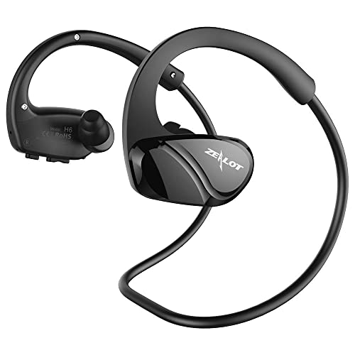 ZEALOT H6 Sports Running Headphone, Wireless Bluetooth Headset Earphones Sweatproof Earbuds,Stereo MP3 Music Player for Jogger, Gym Indoor Outdoor Exercise-Black