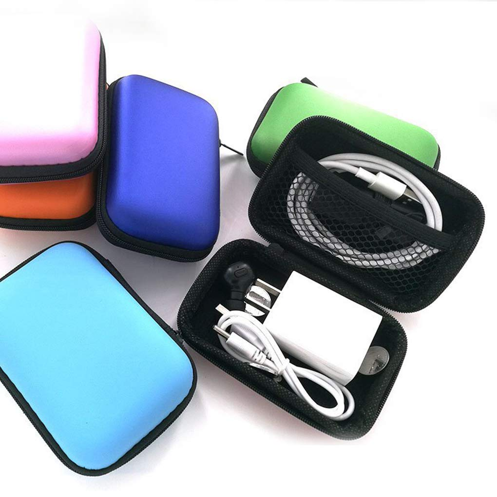 Aiming Auriculares Cable de Datos del Caso del almacenaje del Banco de la energ/ía del Cargador de Caja Rectangular EVA Cremallera Bolsa de la Bolsa del Bolsillo