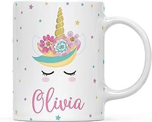 Andaz Press Personalized Magical Rainbow Unicorn Birthday Party Collection, 11oz. Coffee Milk Mug, Olivia, 1-Pack, Custom Name
