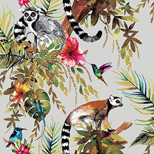 Holden Lemur Wallpaper - Silver 12401
