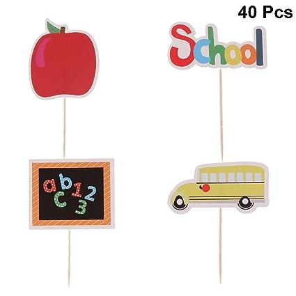 Amosfun 40 piezas de adornos para tartas para la escuela ...