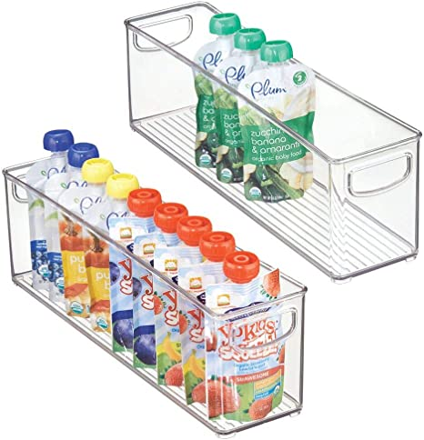 Amazon Com Mdesign Kitchen Refrigerator Cabinet Or Pantry Baby Food Storage Organizer Bin With Handles For Breast Milk Pouches Jars Bottles Formula Juice Boxes Bpa Free 16 X 3 75 X 5