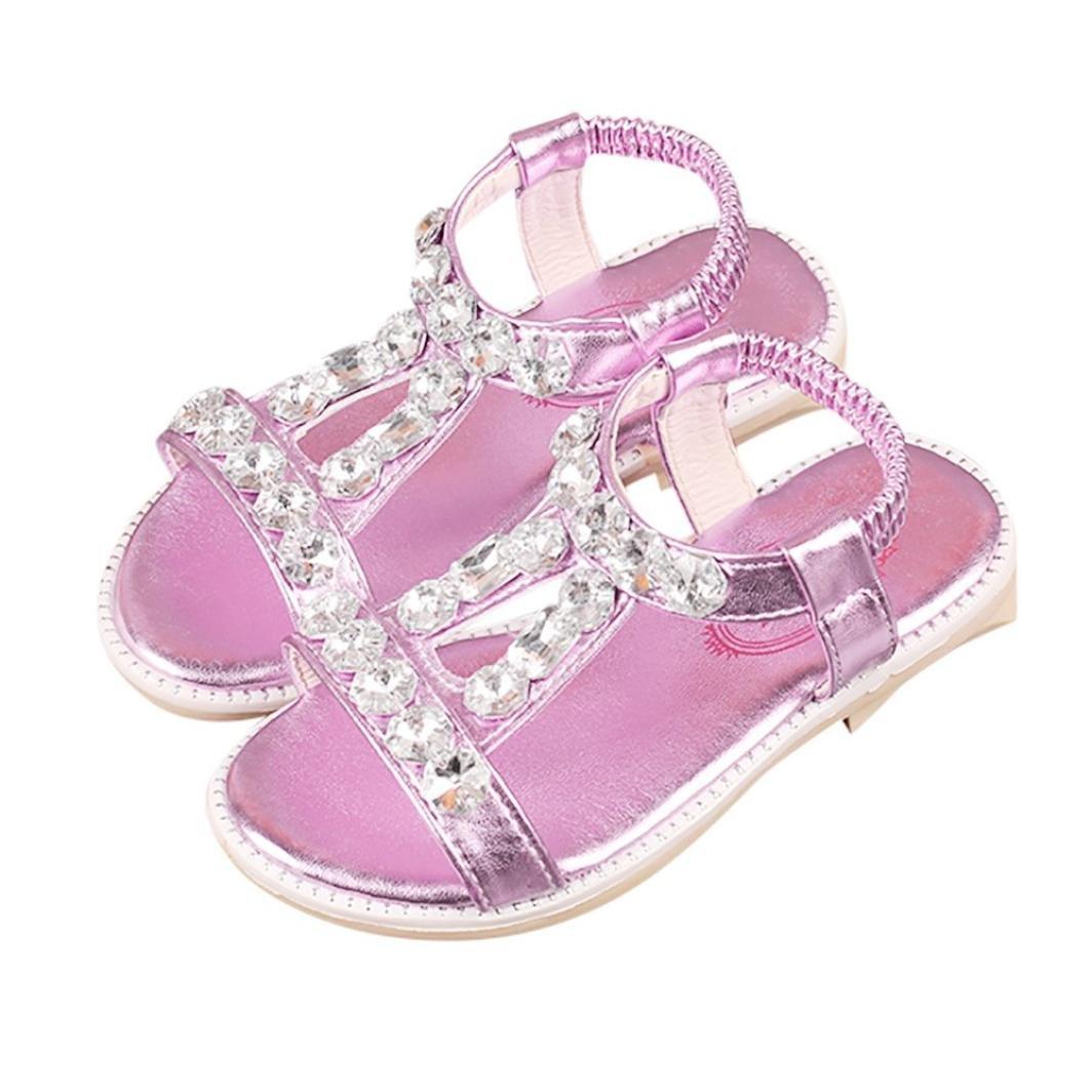 QinMM Sommer Kinder Baby M/ädchen Sandalen Kristall Strand Sandalen Prinzessin Roman Schuhe Freizeitschuhe Niedlich Gold Silber Rosa 25-35