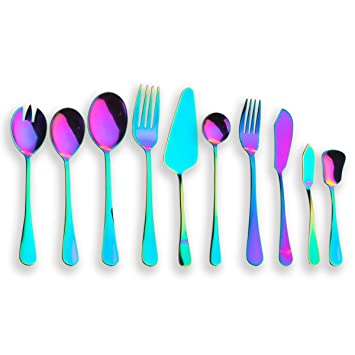 Stainless Steel Rainbow Mermaid Long Handle Tea Spoon Kitchen Cutlery To Suit The PeopleS Convenience Cutlery Sets & Canteens Home, Furniture & Diy
