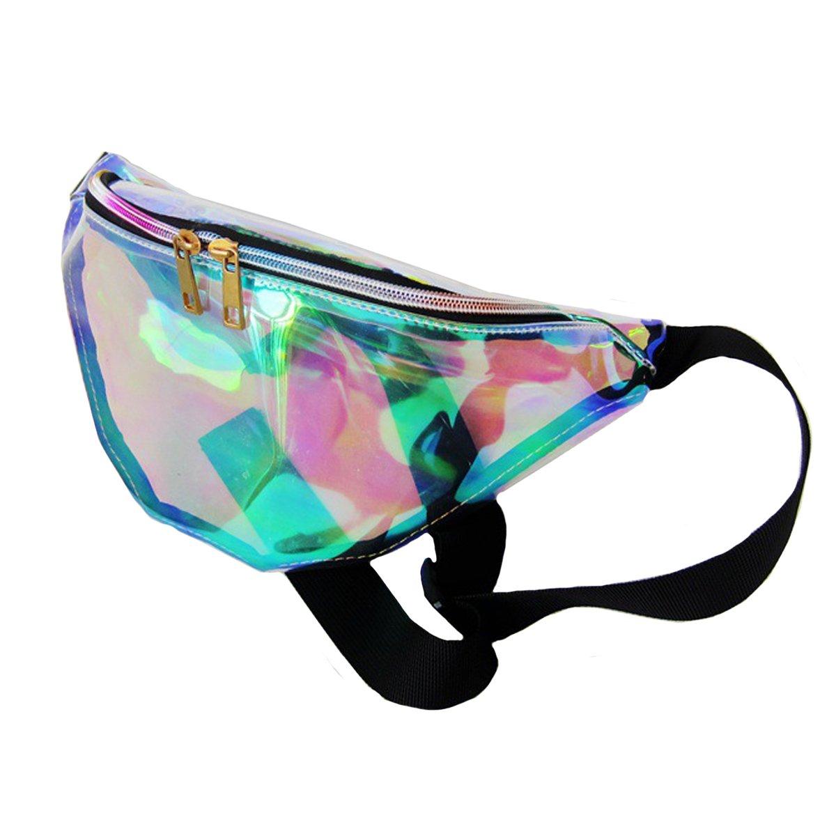 Dolores Women's PVC Hologram Fanny Pack Belt Waist Bum Bag Laser Travel Beach Purse, Iridescence