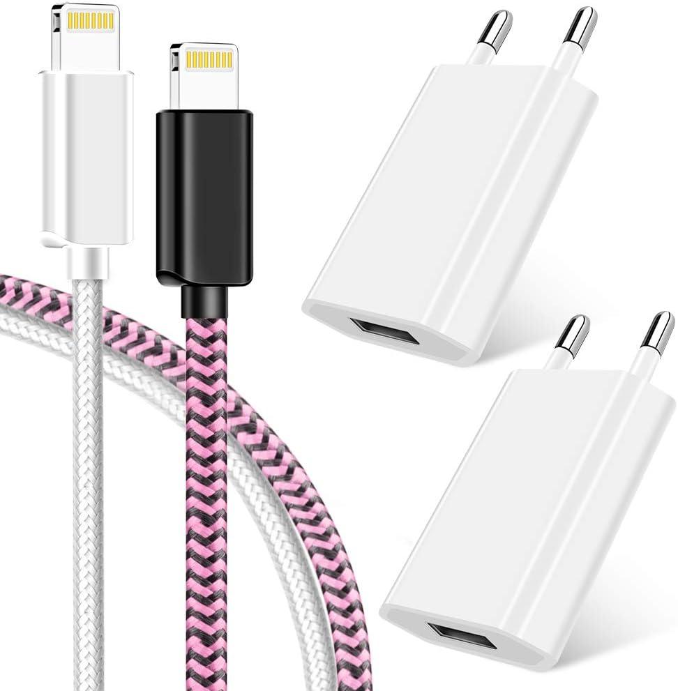 iPad 4//Pro//Mini(Wei/ß) 2x1M Phone Ladekabel und 2 USB Netzteil Netzstecker f/ür iPhone XS//XR//XR Max//X//8//8 Plus//7//7 Plus Vaseakk Ladeset MFi Certified