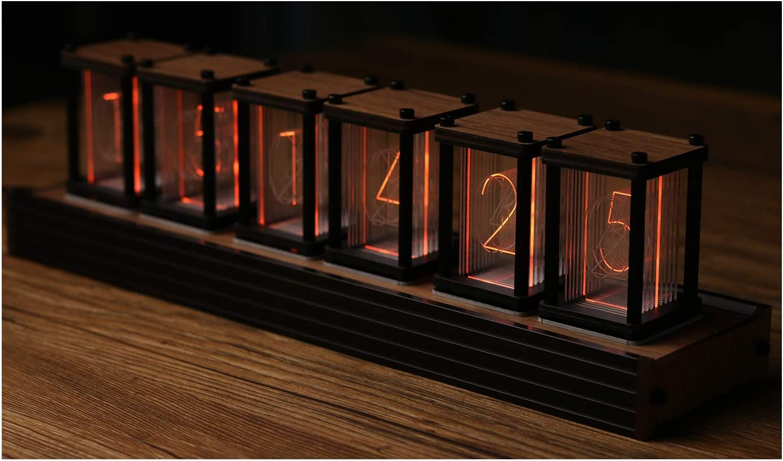Solid wood Nixie tube alarm clock clock Retro clock Digital alarm clock RGB backlight Vintage tube Wood digital clock Mantel decor Man cave