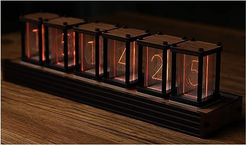 Nixie Tube Clock Creative Digital Variable RGB Color Clock LED Digital Clock Vintage Digital Alarm Clock,Boyfriend Birthday Christmas New Year, Retro Wood Grain