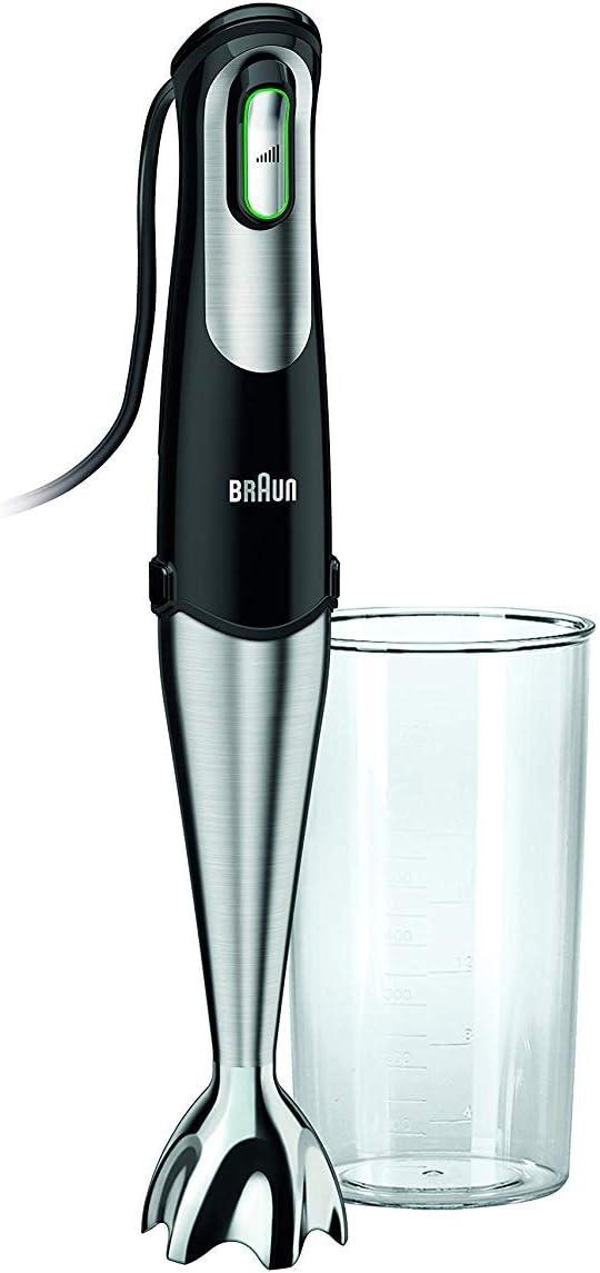 Braun Minipimer 7 MQ700 Soup - Batidora de mano, 750 W, vaso medidor 0.5 l, desmontable, negro y plata
