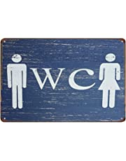 Doitsa 20x30cm Señal Advertencia de Toilets, Cartel de Chapa Placa Metal, Tin Sign Pared