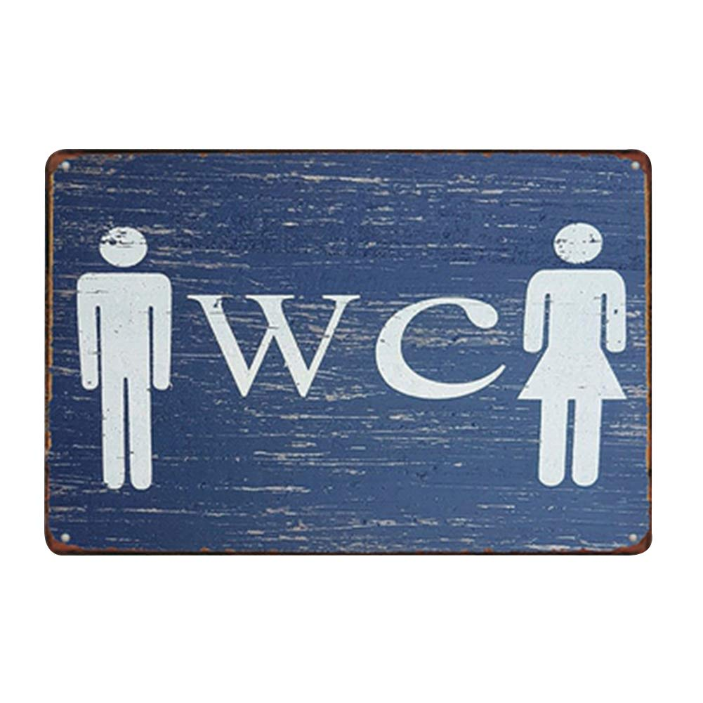 Hosaire 1x Cartel de Estaño WC Diseño,Placa de Arte Pintura de estaño,Decoración Bar Café Vintage Pub 20 * 30cm