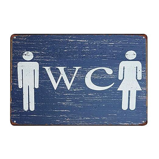 Doitsa 20x30cm Señal Advertencia de Toilets, Cartel de Chapa ...