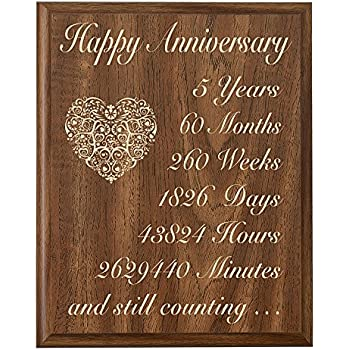 5th Wedding Anniversary Wall Plaque Gifts For Couple 5 Year Her Fifth