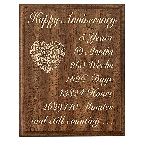 5th Wedding Anniversary Wall Plaque Gifts for Couple 5 Year Anniversary Gifts for Her, Fifth Wedding Anniversary Gifts for Him Wall Plaque By Dayspring Milestones (Walnut 9