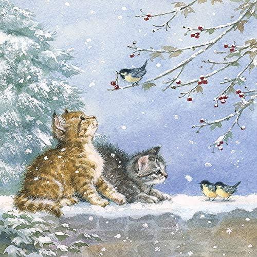 Ambiente Christmas Napkin 33cm Kittens Watching Birds Serviettes