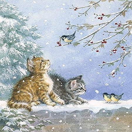 4 pranzo tovaglioli Natale due gatti sotto l/'albero di Natale