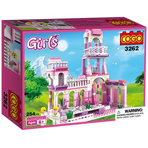 COGO Girls Blocks Princess Castle Toys for Girls Pink Palace Building Blocks Bricks Toys Construction Set for Kids 254 Pcs 3262