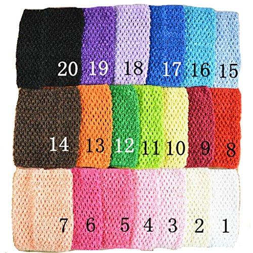 KADIWOW 6 Inch Baby Girl Crochet Tutu Tube Tops Chest Wrap Wide Crochet Headbands (20pcs)