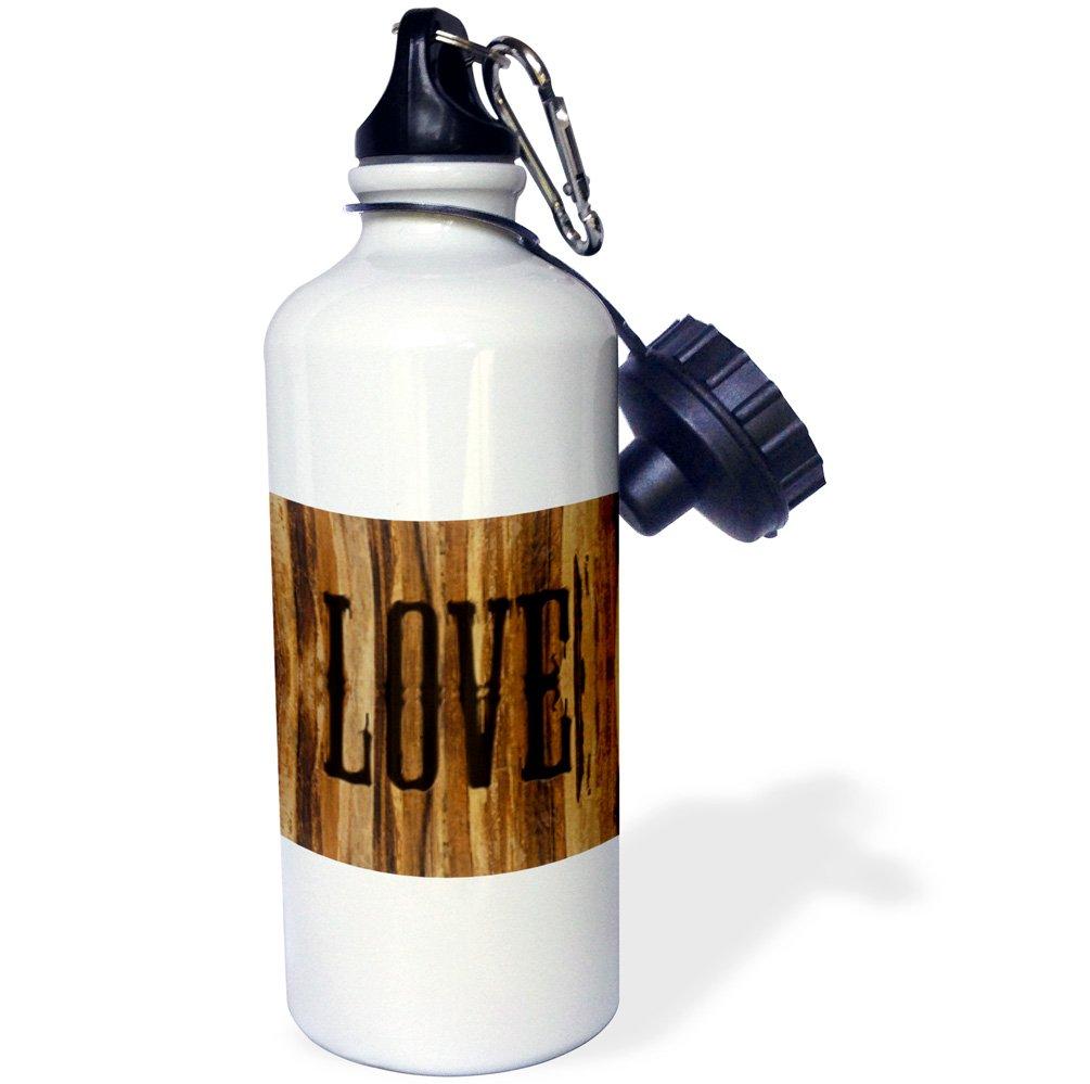 3dRose wb_25389_1''Branded Wood Print LOVE'' Sports Water Bottle, 21 oz, White