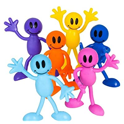 Rhode Island Novelty Bendable Smile Men, Multicolored - 12 Pack: Toys & Games