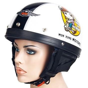 Motocicleta Moto Harley casco para hombre macho de media cara mrcxl02 blanco # 2