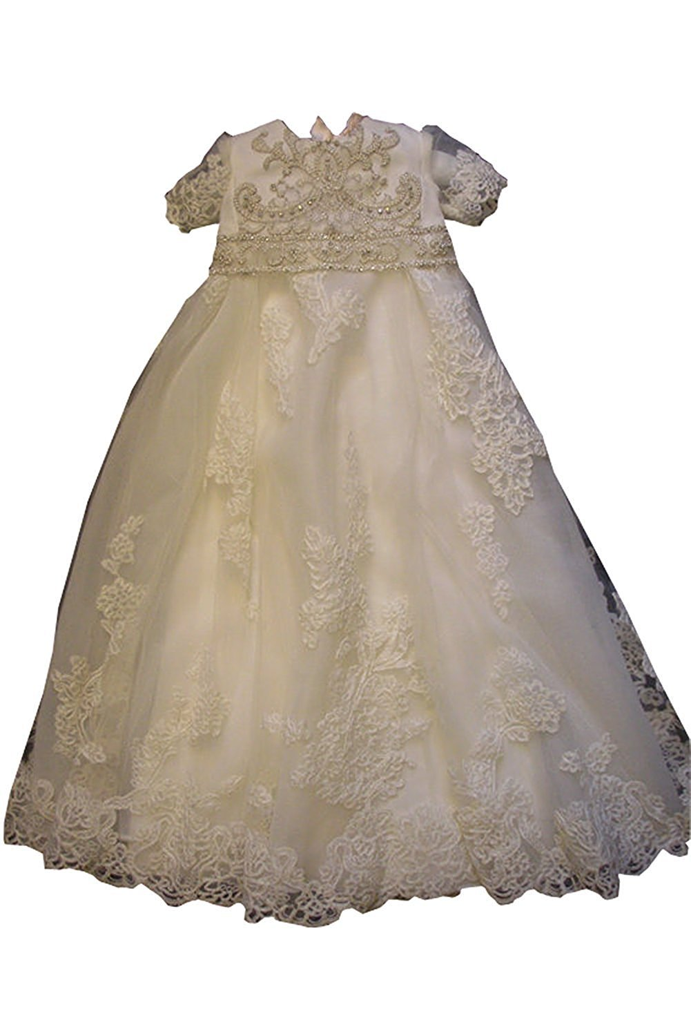 Banfvting Baby-girls Lace Pearls White Ivory Christening Baptism Gowns