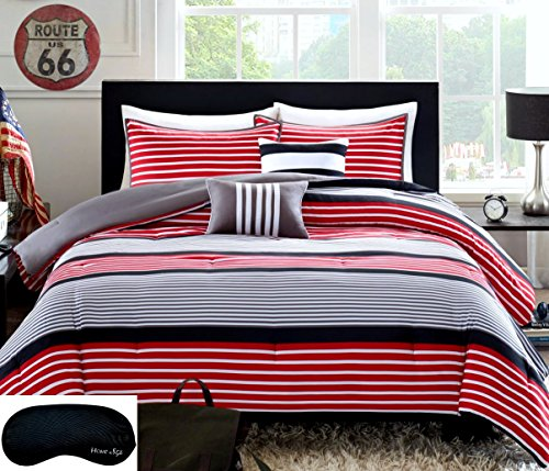 ... Sets | Kids Bedding |. Teen Boys Rugby Stripe Red Black Gray Twin /  Twin XL Comforter + Sham +2