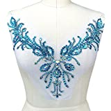 Sparkle Beaded V-neck AB Color Bling Sew On Neckline Sequin Rhinestones Crystal Trim Bridal Applique Design Patch Sewing for Wedding Dresses DIY Craft 12x15 Inch (Light Blue)