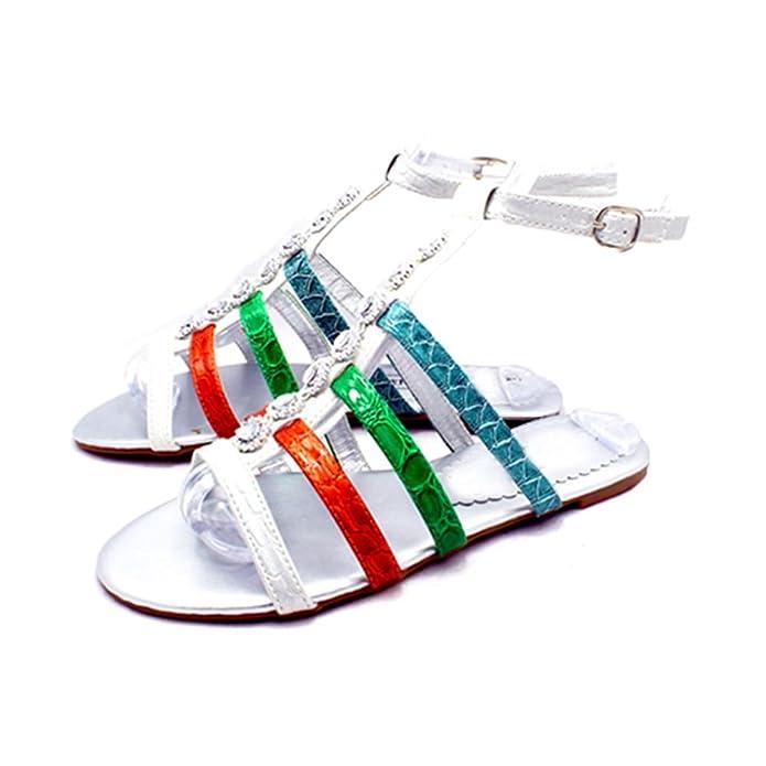 385c05bb7509e SendIt4Me Ladies Diamante Jewelled Ankle Strap Multi Colour Flat Sandals   Amazon.co.uk  Shoes   Bags
