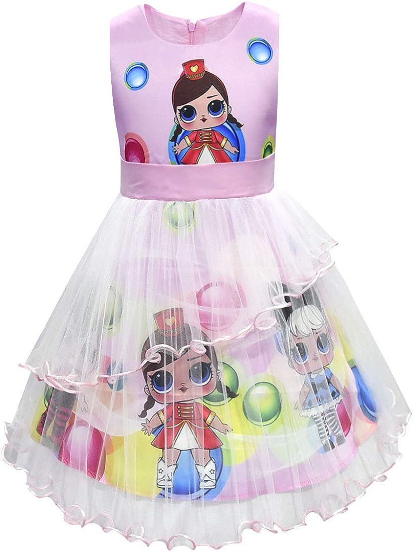 Dgfstm Le Bambole A Sorpresa Vestono Abiti Estivi Senza Maniche Abito per Ragazze Multicolore