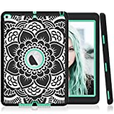 iPad Air 2 Case,PIXIU [Shockproof][Drop Protection][Heavy Duty] Rugged Three-Layer Defender best cases for iPad air 2 (Black/Mint Green)