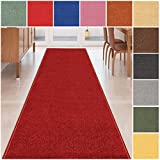 Custom Size RED Solid Plain Rubber Backed Non-Slip Hallway Stair Runner Rug Carpet 22 inch Wide Choose Your Length 22in X 3ft