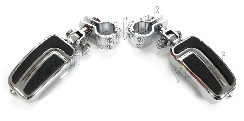 YUIKUI RACING オートバイ汎用 1-1/4インチ(32mm)/1インチ(25.4mm)エンジンガードのパイプ径に対応 ハイウェイフットペグ タンデムペグ ステップ KAWASAKI MEAN STREAK (all MODELE) All years等適用   B07PY86XD1