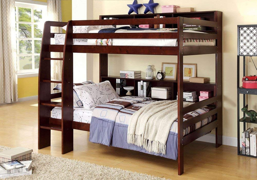 247SHOPATHOME Bunk bed, Twin over twin, Walnut