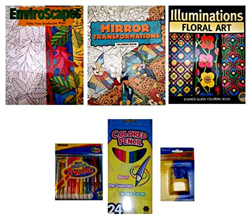 Mindware Transformation/Enviroscape/Floral Coloring Book/Twist Crayons/Colored Pencils 6-pc Bundle