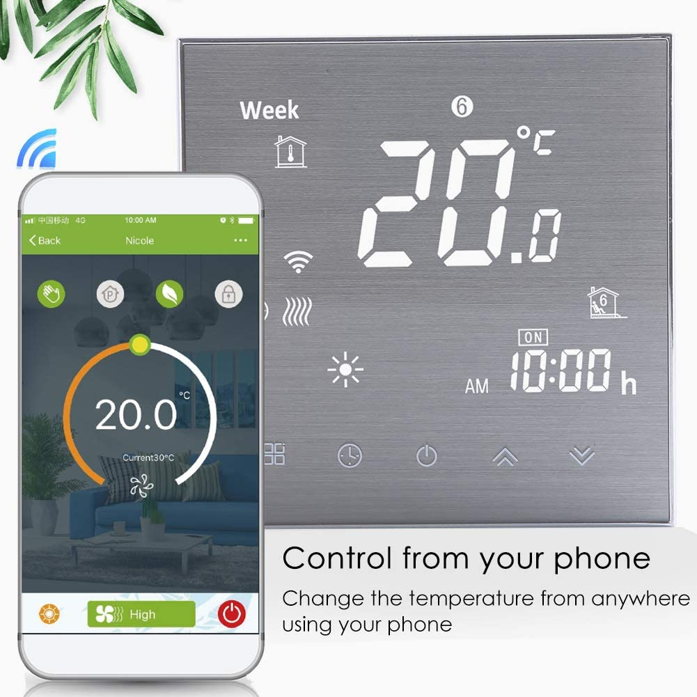 WiFi Smart Thermostat Water Heating-Programmable WiFi Thermostats for Home Remote Control Room Thermostat Compatible with Alexa/Google Home 3A 2019Update Wireless Digital Temperature Controller