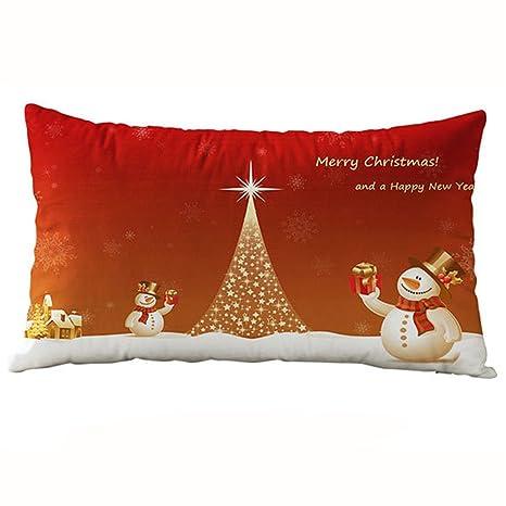 Fundas de cojín, Tatis 30 * 50 cm Christmas rectangular algodón Linter fundas de almohada, Lino, R, 45 cm