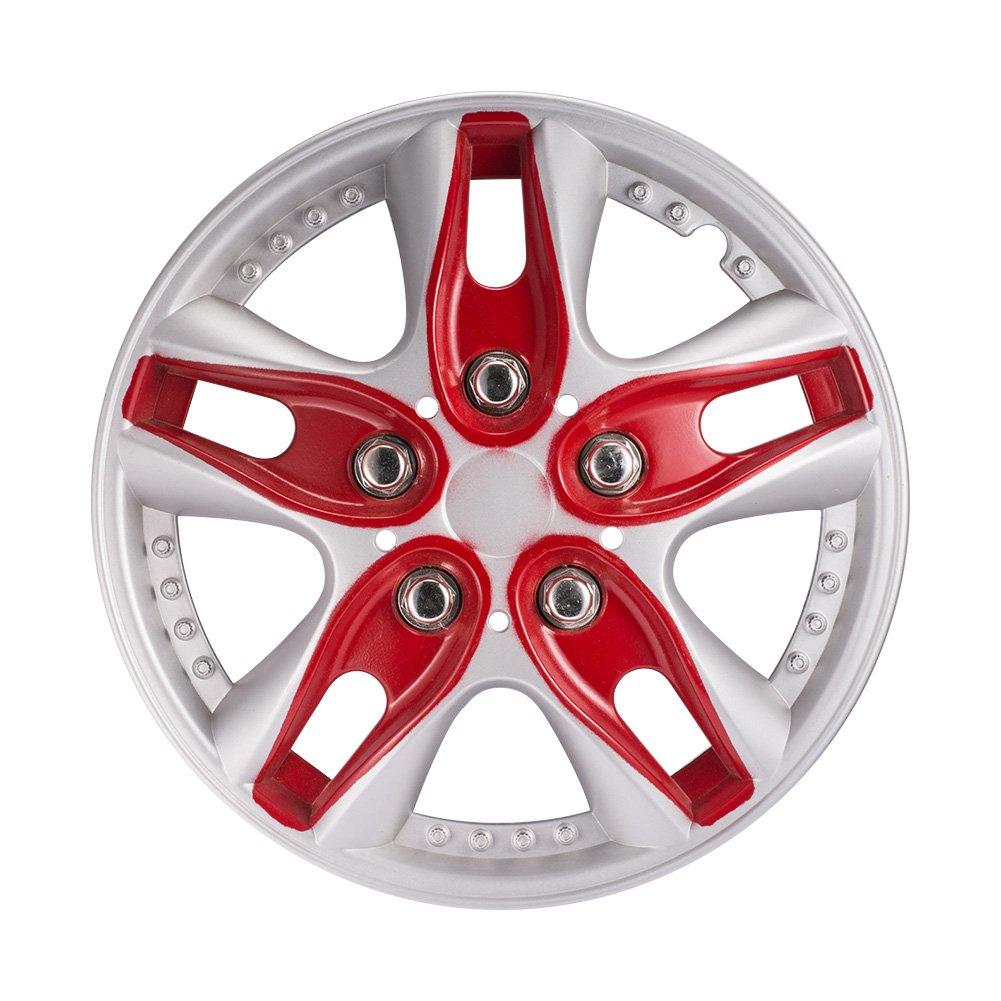 4ピース/セット12インチ赤車のホイールハブキャップユニバーサル車のホイールハブカバー用装飾 B077RVTY7N