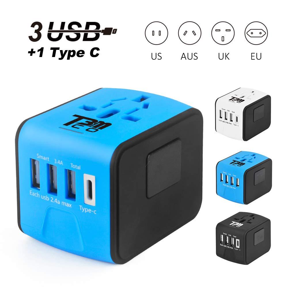 T3MCO Travel Adapter. International Travel Adapter, 3 USB Ports + Type-C/4 USB Ports, UK, EU, AUS, USA, Universal Travel Adapter, Multi Use USB Travel Adapter (3 USB + TYPEC, BLUE)