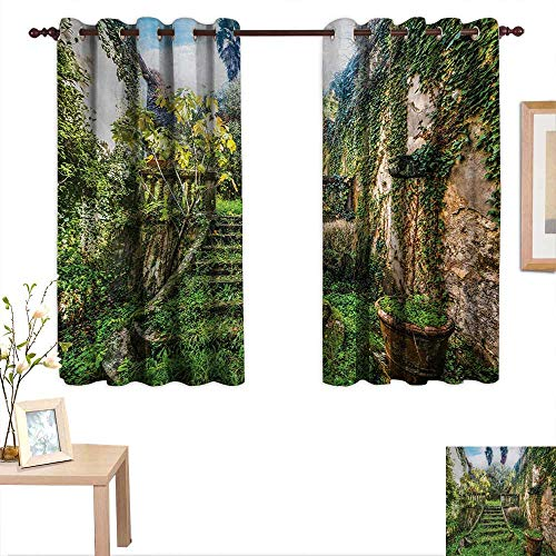 (Nature Thermal Insulating Blackout Curtain Ancient Fairytale Theme Hidden Garden with Botanic Trees Flowers Ivy Image Print 55