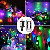 110v outdoor timer - B-right Outdoor Globe String Lights, 100 LED 43.6ft Waterproof String Balls with 8 Modes Remote & Timer, 29V Safety Output UL Listed Power Adapter, Multi-color